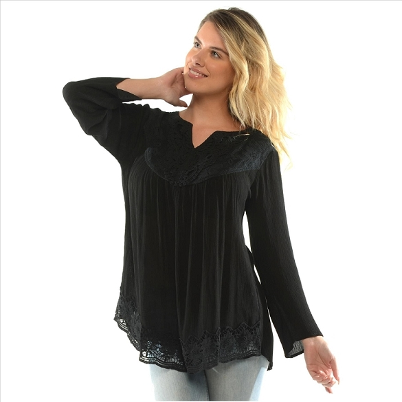 Elegantly Embroidered Tunic - Black
