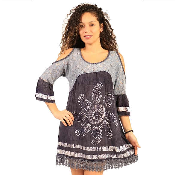 Paisley Print Cold Shoulder - Grey