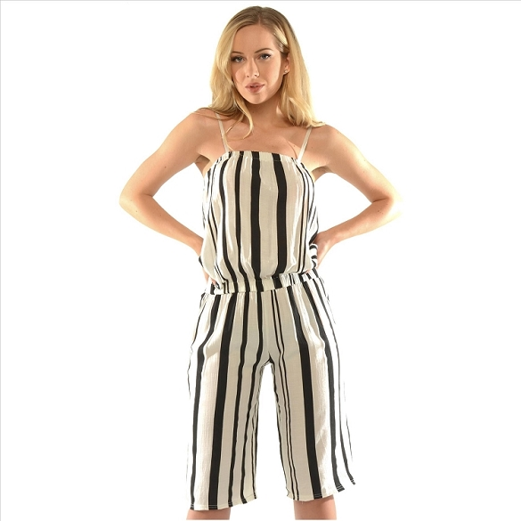 Pinstripe Jumpsuit - White / Black