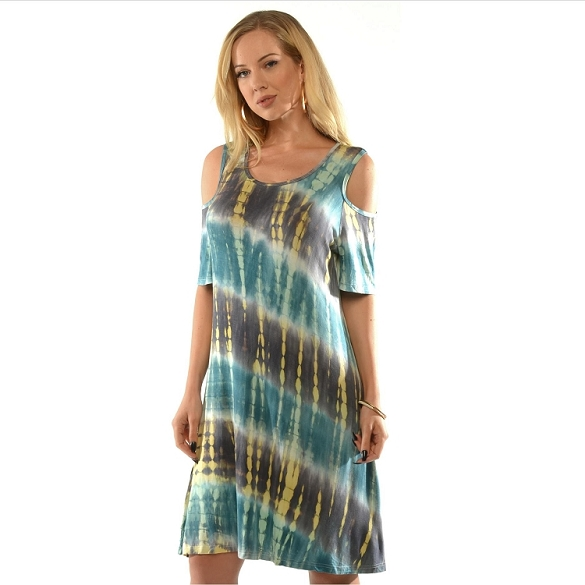 Cold Shoulder Tie Dye - Turquoise