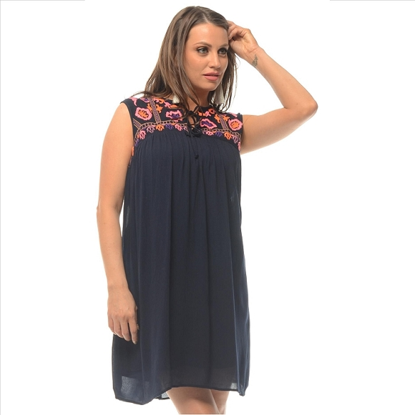 On-Trend Embroidered Dress - Navy