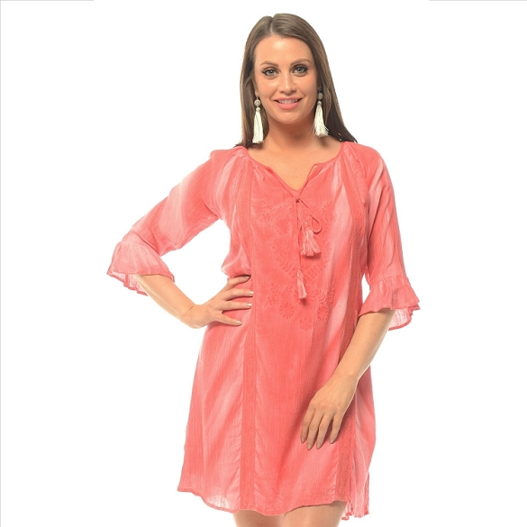 Tassel Tie Solid 3/4 Sleeve Dress - Coral