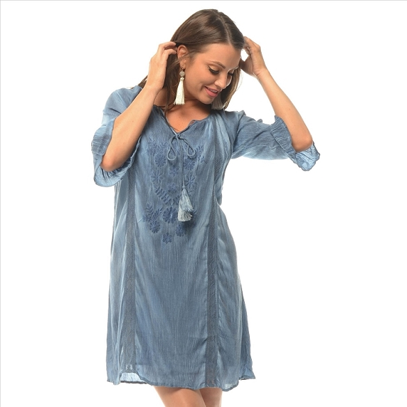 Tassel Tie Solid 3/4 Sleeve Dress - Denim