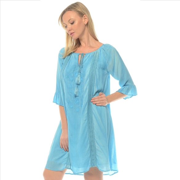 Tassel Tie Solid 3/4 Sleeve Dress - Turquoise