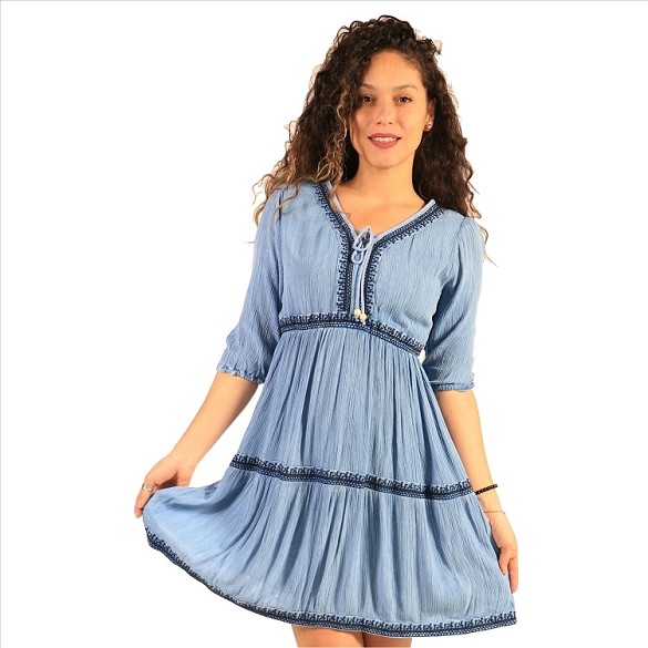 Tie Neck Empire Waist Dress - Blue