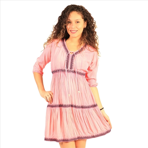 Tie Neck Empire Waist Dress - Pink