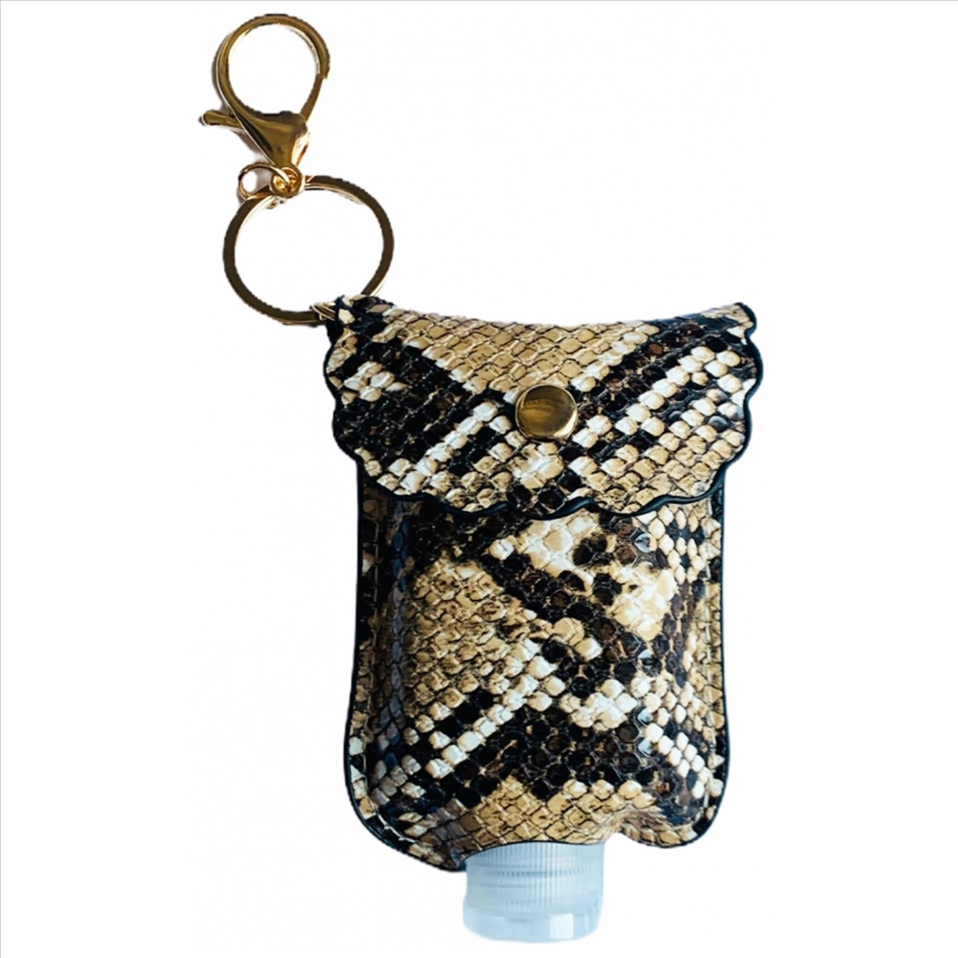 Mini Sanitizer Holder and Key Chain - Snake Print