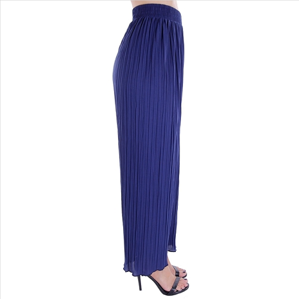 Pleated Palazzo Pants - Navy