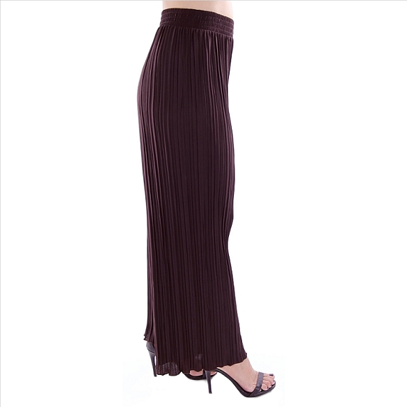 Pleated Palazzo Pants - Brown