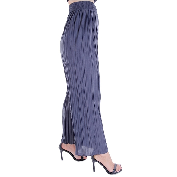Pleated Palazzo Pants - Grey