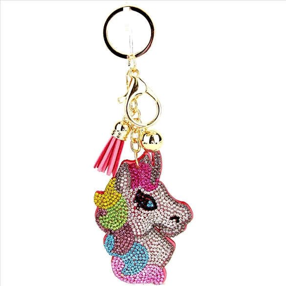 Colorful Pony Puffy Tassel Key Chain