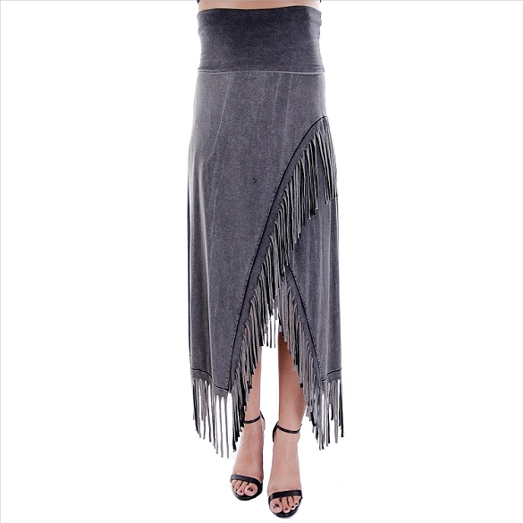 Chic Fringe Skirt - Grey