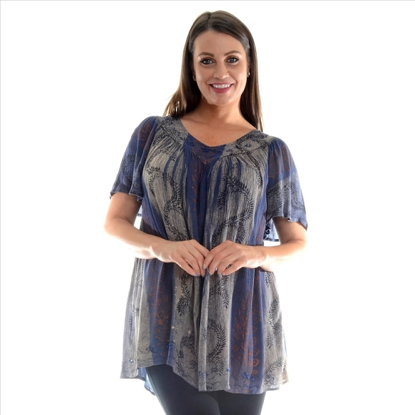 Tie Dye V-Neck Tunic - Navy