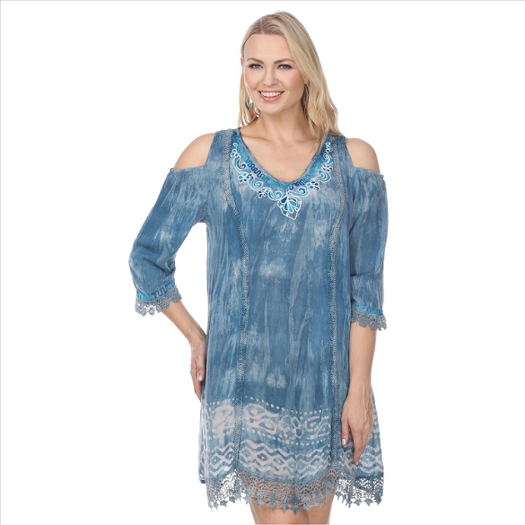 Embroidered Tie Dye Tunic - Mint
