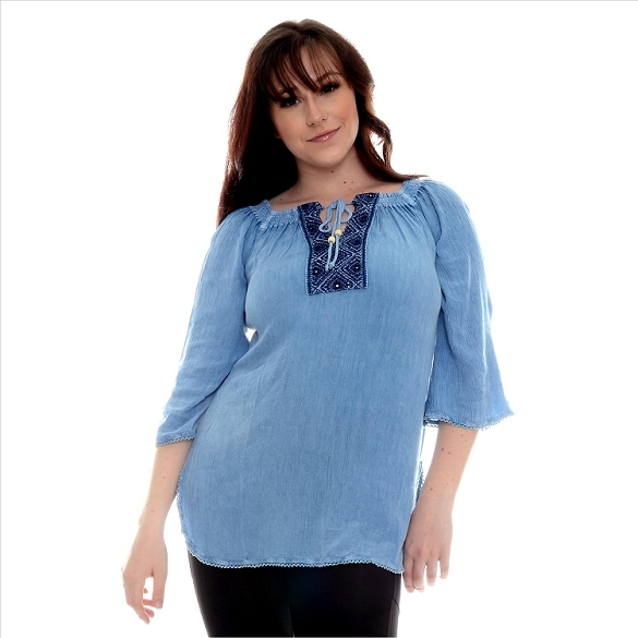 Square Neck Flowing Tunic - Denim