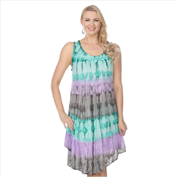 Abstract Embroidered Dress - Green