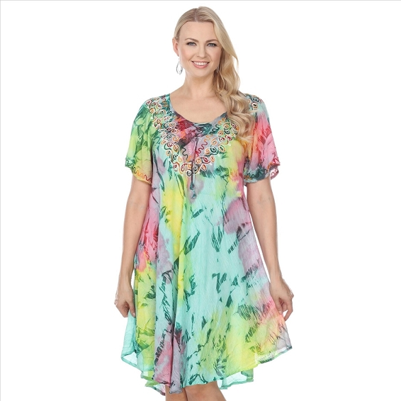 Abstract Pastel Print Dress - Pink / Green