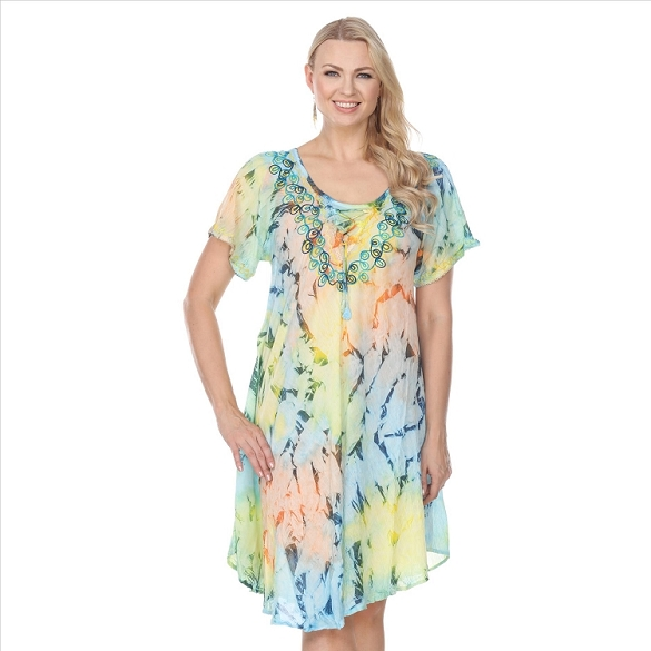 Abstract Pastel Print Dress - Turquoise / Pink