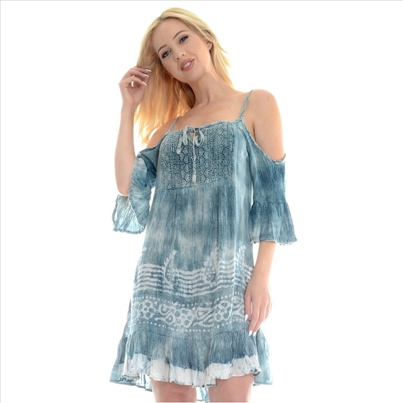 Bell Sleeve Cold Shoulder Tie Dye - Blue