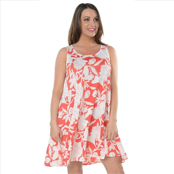 Sleeveless Floral Print Shift Dress - Coral