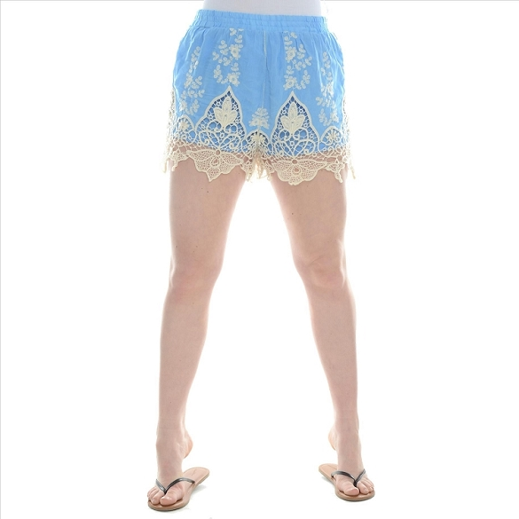 Embroidered Lacy Shorts - Denim