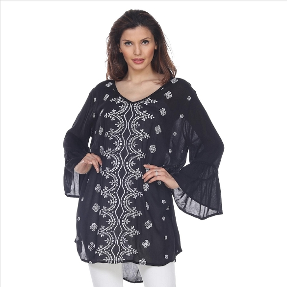 V-Neck Bell Sleeve Tunic - Black