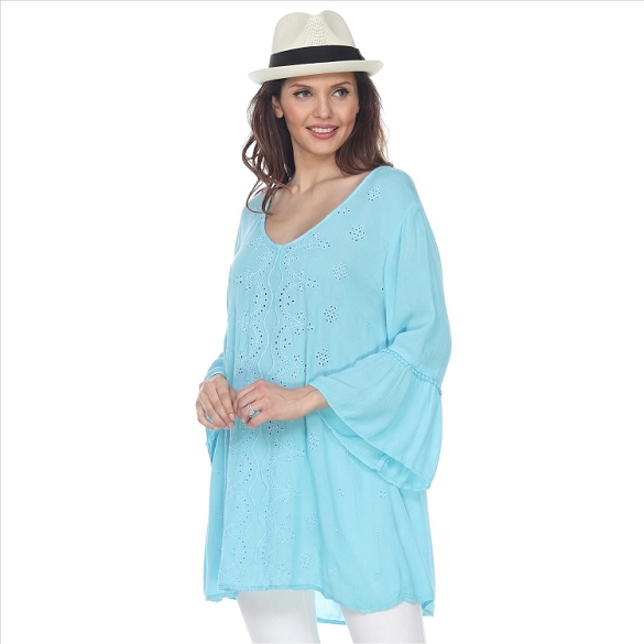 V-Neck Bell Sleeve Tunic - Mint