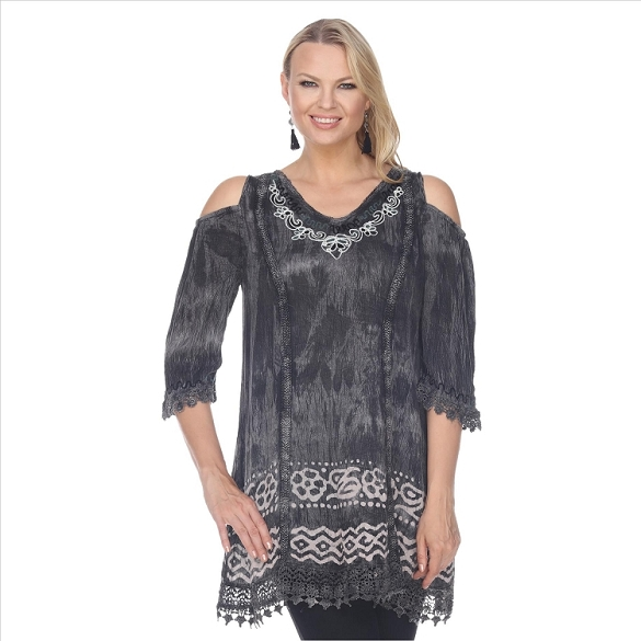 Tie Dye Embroidered Tunic - Grey