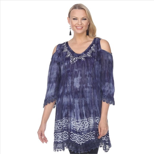 Tie Dye Embroidered Tunic - Navy