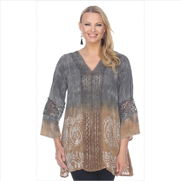Lace Trimmed Tie Dye Tunic - Black