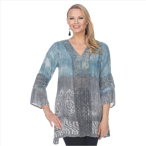 Lace Trimmed Tie Dye Tunic - Blue