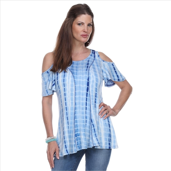Cold Shoulder Short Sleeve Top - Blue