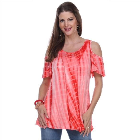 Cold Shoulder Short Sleeve Top - Coral