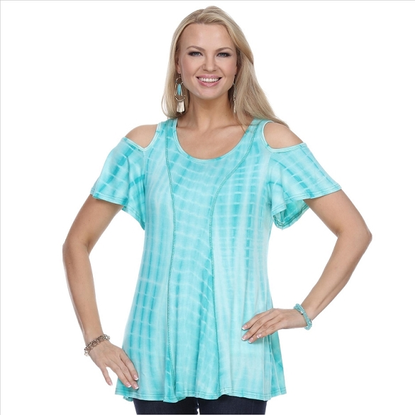 Cold Shoulder Short Sleeve Top - Mint