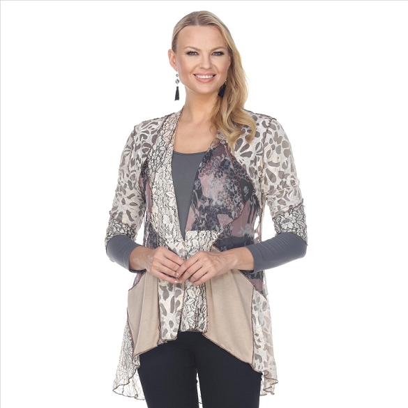 Mixed Panels and Lace Jacket - Beige