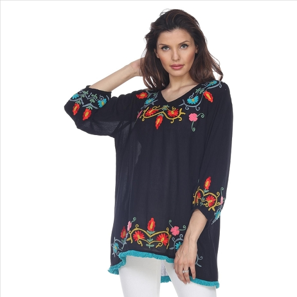 Fringe Edged Embroidered V-Neck Tunic - Black