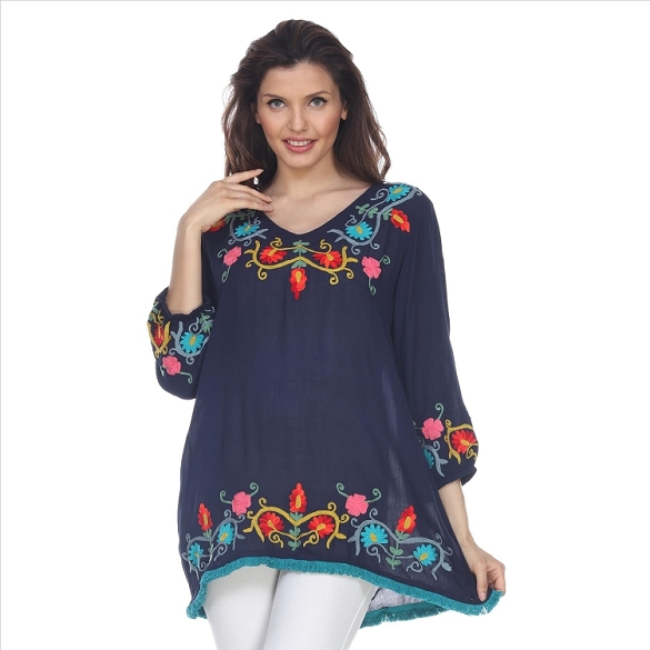 Fringe Edged Embroidered V-Neck Tunic - Navy