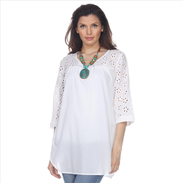 Eyelet Shirt Tail Tunic - White