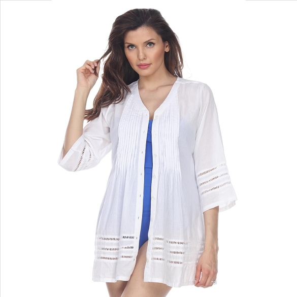 Button Down Cover-Up - White