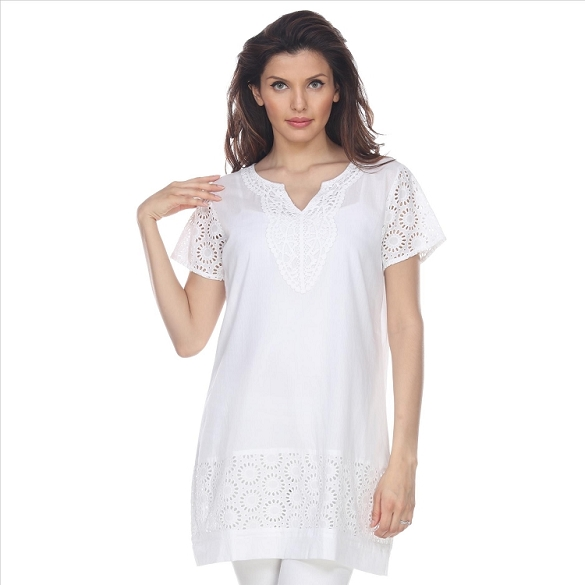 Eyelet Lace V-Neck Tunic - White