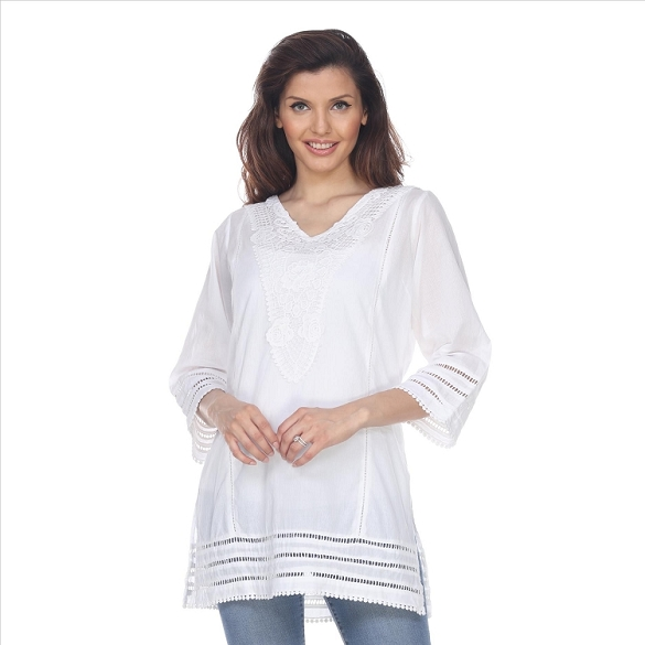 Side Slit V-Neck Tunic - White