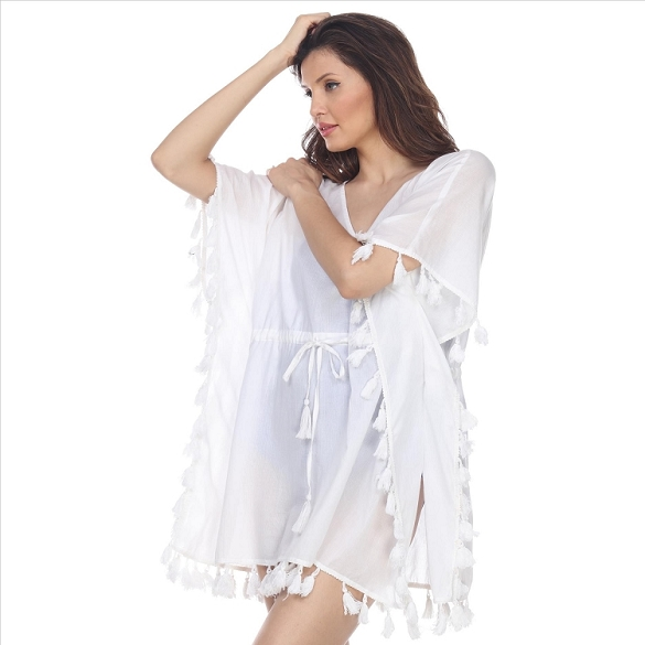 Amazing Tassel-Trimmed V-Neck Cover-Up