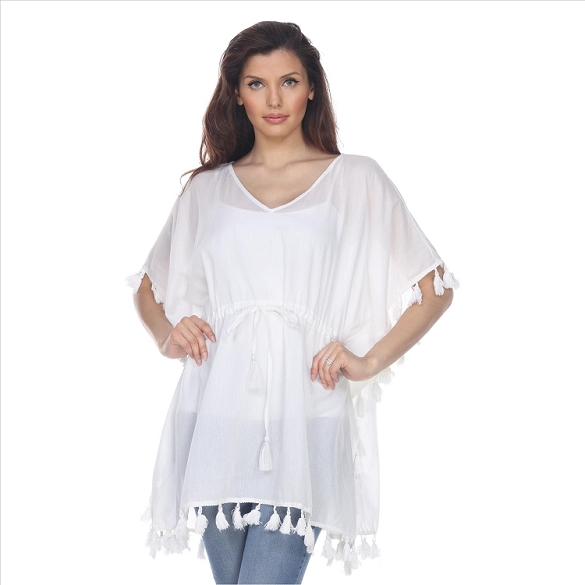 Amazing Tassel-Trimmed V-Neck Tunic