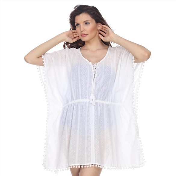 Cinch Waist and Ball Tassel Cover-Up