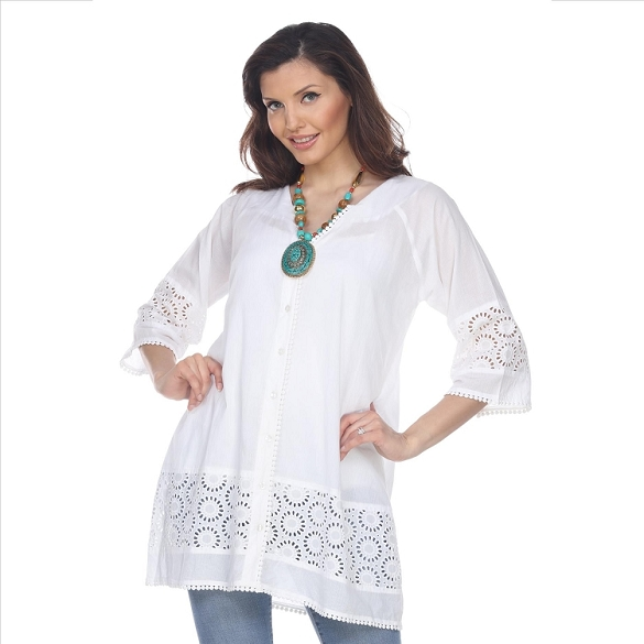 Eyelet V-Neck Tunic - White