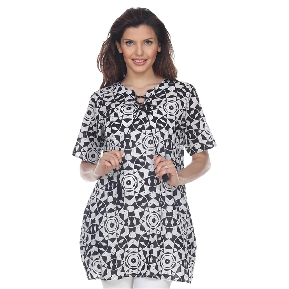 Abstract Mosaic Print Tunic with Pockets - Black