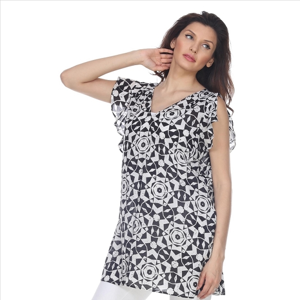 Ruffle Sleeved Mosaic Print Tunic - Black