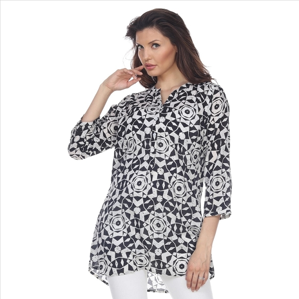 Fabulous 3/4 Sleeve Mosaic Print Tunic - Black