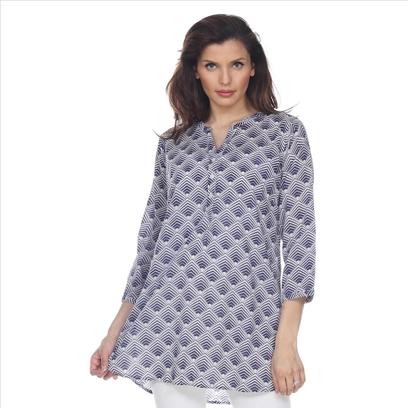 Fabulous 3/4 Sleeve Print Tunic - Navy