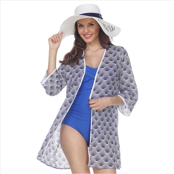 Button Down Cover-Up - Navy